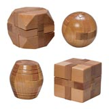Set of 4: Natural Wood Wooden Puzzles