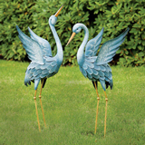 SET OF 2: JAPANESE BLUE HERONS ANIMAL GARDEN SCULPTURES