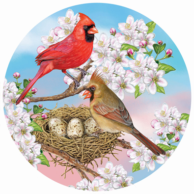 Cardinals In Spring 300 Large Piece Jigsaw Puzzle