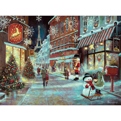 Christmas In Paris 300 Large Piece Glitter Effects Jigsaw Puzzle