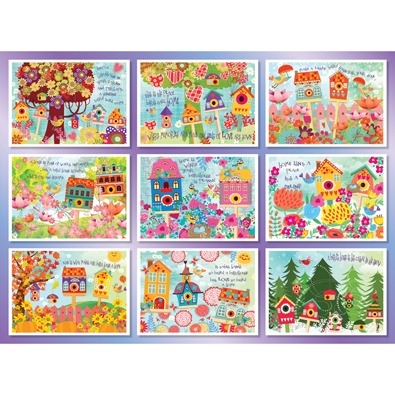 Blooms and Birdhouses Quilt 500 Piece Jigsaw Puzzle