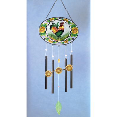 Rooster Stained Glass Wind Chimes