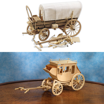Set of 2: Covered Wagon and Stage Coach