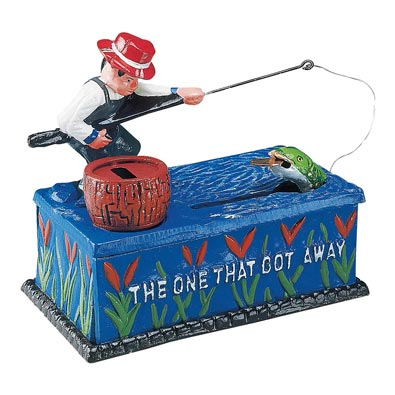 Go Fish Cast-Iron Mechanical Bank