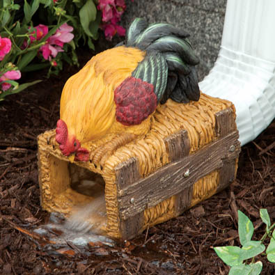 Rooster Downspout Extension Animal Garden Sculpture