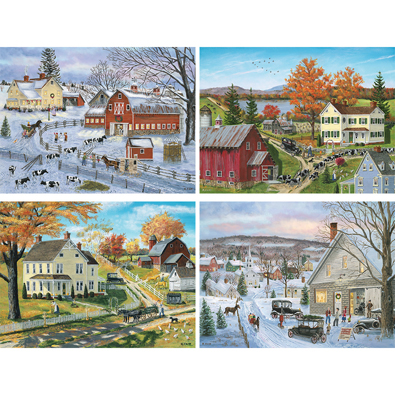 Set of 4: Bob Fair 500 Piece Jigsaw Puzzles