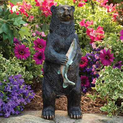 Black Bear Motion Sound Sensor Animal Garden Sculpture