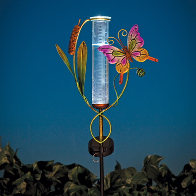LED Butterfly Solar Rain Gauge