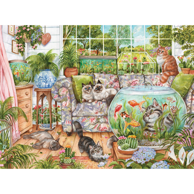 Cat Fishing 300 Large Piece Jigsaw Puzzle