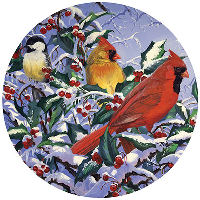 Cardinals In Holly with Chickadee 500 Piece Round Jigsaw Puzzle