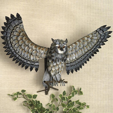 Elegant Owl In Flight Sculpture