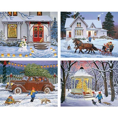 4 In 1 Set: The Holiday Spirit 500 Piece Jigsaw Puzzles