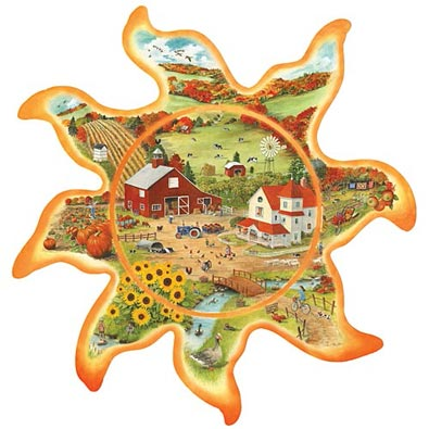 Autumn Sun 750 Piece Seasons In The Sun Shaped Jigsaw Puzzle