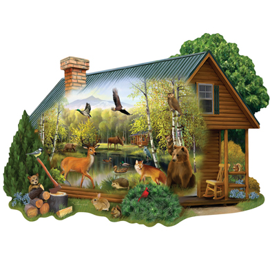 Cabin In the Wild 750 Piece Shaped Jigsaw Puzzle