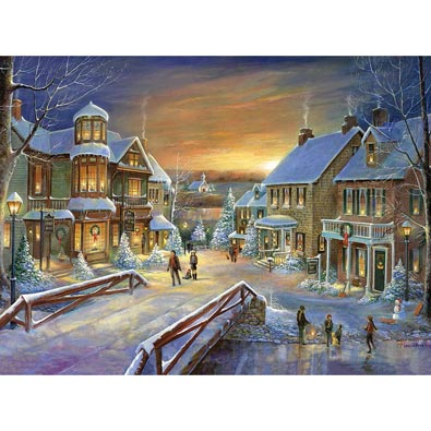 Holiday Village 1000 Piece Gold Foil Jigsaw Puzzle
