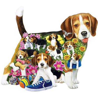 Beagle Brigade 750 Piece Shaped Jigsaw Puzzle