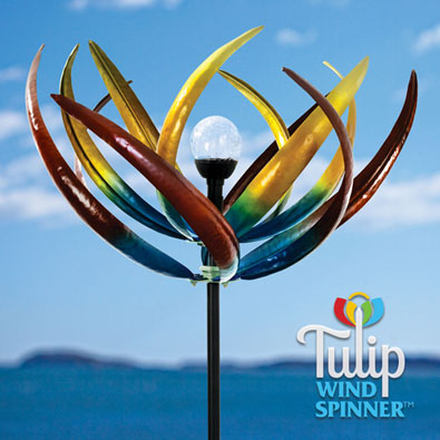 Solar Multi-Color Tulip Wind Spinner