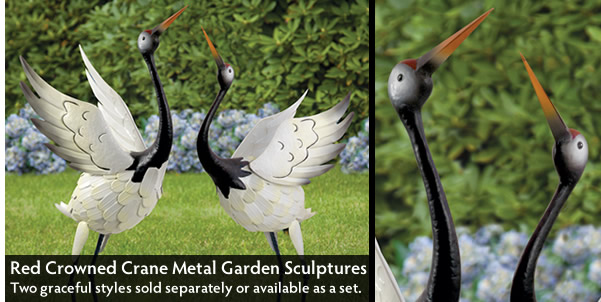 Set of 2 - Red Crowned Cranes