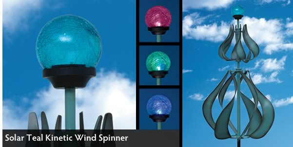 Solar Teal Kinetic Wind Spinner