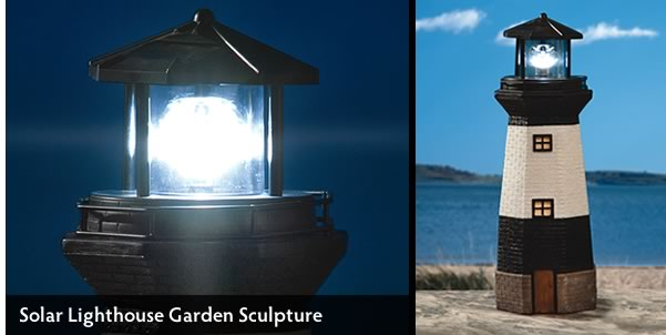 LARGE SOLAR LIGHTHOUSE GARDEN SCULPTURE